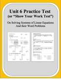 Algebra: Unit 6 Practice Test or Review on Solving Systems of Linear Equations