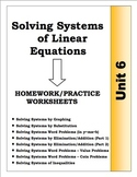Algebra: Unit 6 - Solving Systems of Linear Equations Homework Worksheets Bundle
