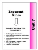 Algebra: Unit 7 - Exponent Rules Homework Worksheets Bundle