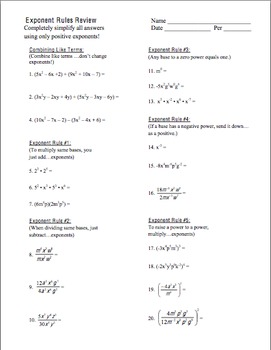 algebra unit 7 exponent rules homework worksheets bundle by algebra4all. Black Bedroom Furniture Sets. Home Design Ideas