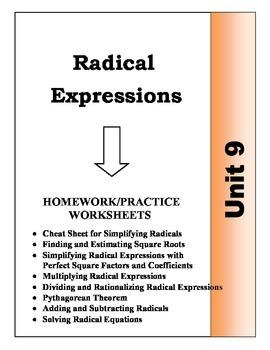 Algebra: Unit 9 - Radical Expressions Homework Worksheets Bundle