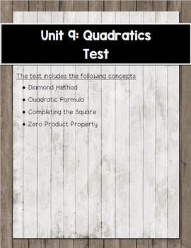 Algebra Unit 9 Test on Quadratics