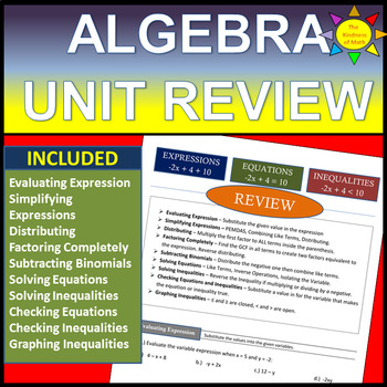 Algebra Unit Review: Expressions, Equations, and Inequalities