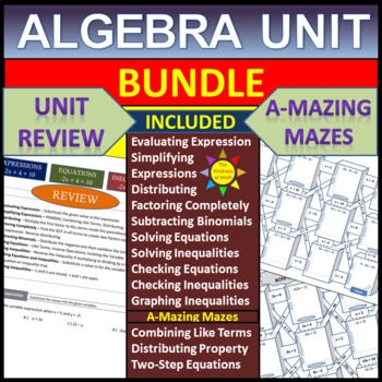 Algebra Unit Review/ 7th Grade End of the Year Review - Algebra Mazes and more!