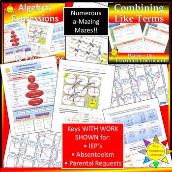 Algebra Unit: Simplifying Expressions Bundle