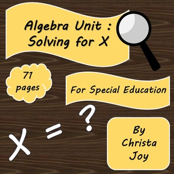 Special education algebra teaching resources teachers pay teachers algebra unit what is x for special education fandeluxe Gallery