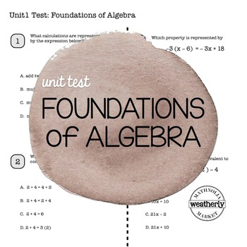 FOUNDATIONS of Algebra Unit Test CC Algebra 1