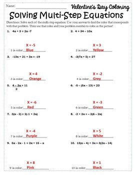 Valentines Day Algebra Activity Coloring {Algebra Valentines Day with Equations}