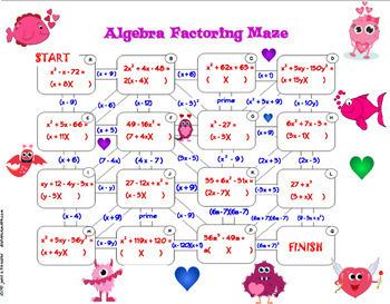 Factoring Polynomials Maze Activity plus Bonus