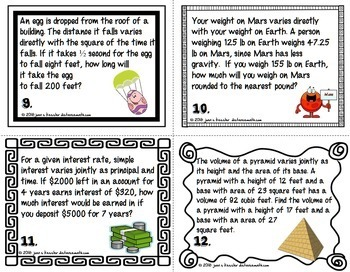 Direct Inverse and Joint Variation Foldable and Task Cards with Applications