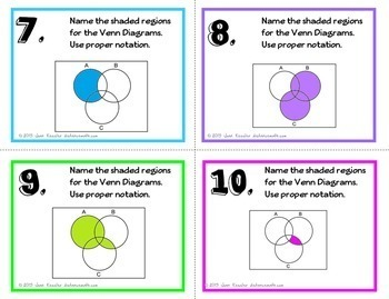 Algebra Set Theory Venn Diagrams Task Cards