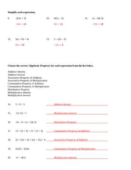 Algebra Verbal Expressions & Properties Quiz