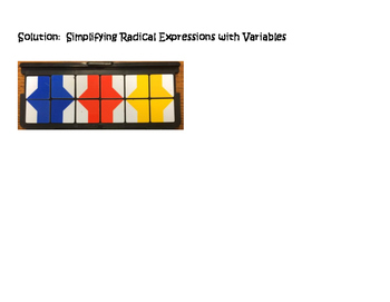 Algebra VersaTiles/Card Sort Simplifying Radical Expressions with Variables