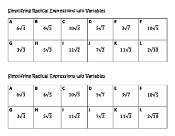 Algebra VersaTiles/ Card Sort Simplifying Radical Expressions without Variables