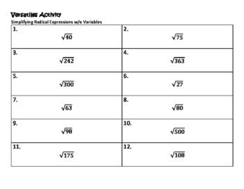 Algebra VersaTiles/ Card Sort Simplifying Radical Expressi
