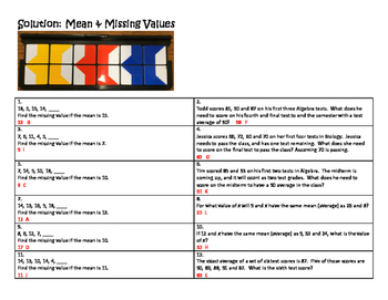 Algebra Versatile/Card Sort Mean & Missing Values