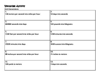 Algebra Versatiles/Card Sort Unit Conversions