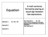 Algebra Vocab Foldables Scaffolded for Diverse Learning Levels (9 words)
