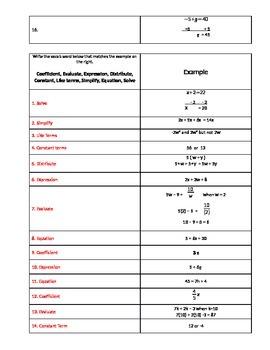 Algebra Vocab (9 words) Review Worksheet