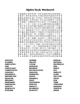 Algebra Vocab. Word Search