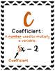 Algebra Vocabulary Alphabet Posters