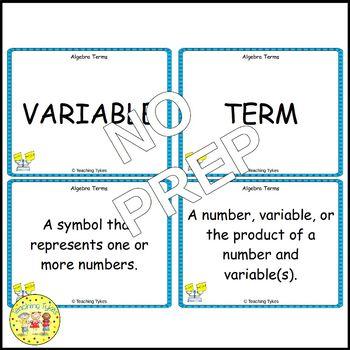 Algebra Vocabulary Cards