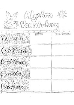 Algebra Vocabulary Coloring page