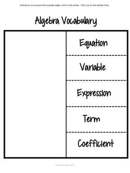 Algebra Vocabulary Foldable Notes for Interactive Notebooks