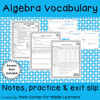 Algebra Vocabulary Notes & Practice