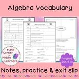 Algebra Vocabulary Notes & Practice