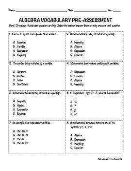 Algebra Vocabulary Pre- and Post-Assessment