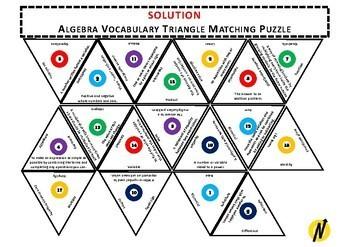 Algebra Vocabulary Triangle Matching Puzzle