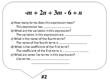 Algebra Vocabulary - expressions