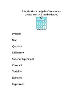 Algebra Vocabulary