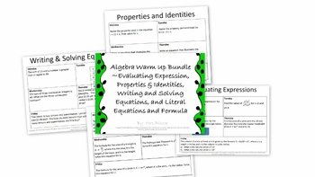 Algebra Warm Up Set 1- Evaluating Expressions + More