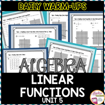 Algebra 1 Warm Ups: Linear Functions