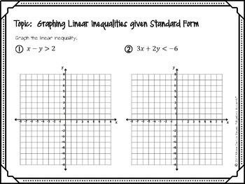 Algebra 1 Warm Ups: Linear Inequalities