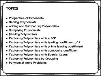 Algebra Warm-Ups: Polynomials