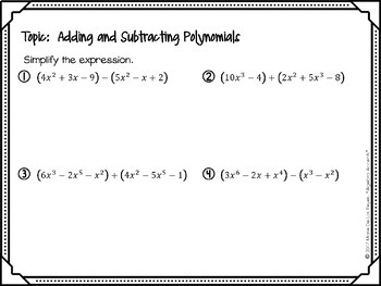 Algebra 1 Warm Ups: Polynomials