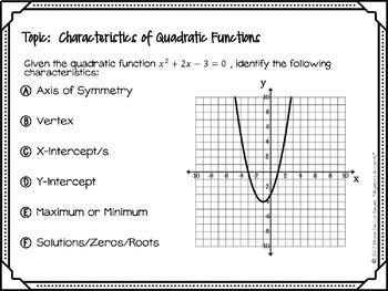 Algebra 1 Warm Ups: Quadratic Functions