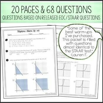 Algebra Warm Ups  ~ State Test Prep ~ Algebra 1 EOC Review Bell Ringers