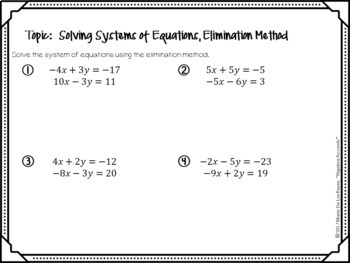 Algebra 1 Warm Ups: Systems of Equations