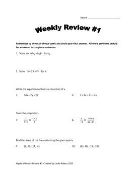 Algebra Weekly Reviews Volume 2
