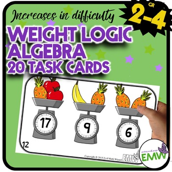 Algebra Weight Logic Math Task Cards