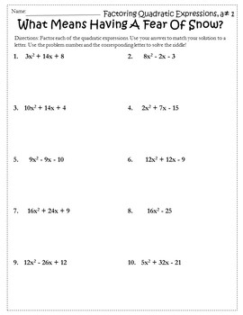 Factoring Trinomials {Factoring Quadratics Activity} {Factoring Polynomials}