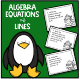 Algebra Winter/Christmas Writing Equations of Lines Task Cards
