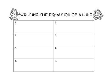 Algebra Winter/Christmas Writing Equations of Lines Task Cards