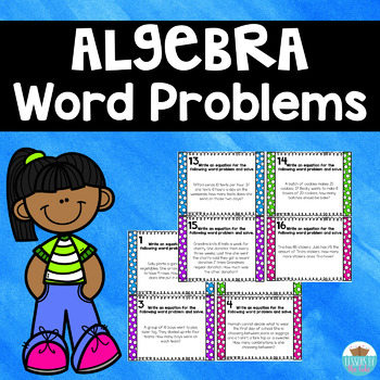 Algebra Word Problem Task Cards