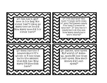 Algebra Word Problem Task Cards
