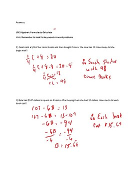 Algebra Word Problem Test and Answers